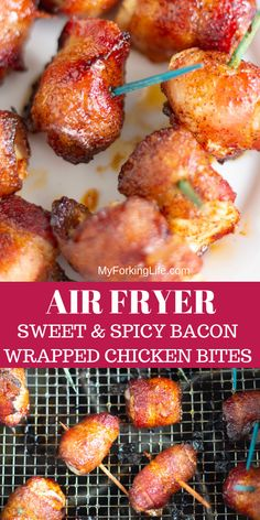 This Air Fried Bacon Wrapped Chicken is covered in a sweet and spicy rub for a quick and easy appetizer. With only 5 ingredients, this recipe is a perfect and quick treat. via appetizers bacon Air Fryer Sweet and Spicy Bacon Wrapped Chicken Bites Air Fryer Oven Recipes, Air Frier Recipes, Air Fryer Dinner Recipes, Chicken Wraps, Bacon Appetizers, Appetizer Recipes, Healthy Appetizers, Air Fry Bacon, Bacon Wrapped Chicken Bites