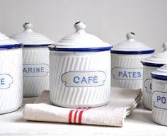 Antique French Kitchen Canister Set. U20ac138.00, Via Etsy.   I Kind Of