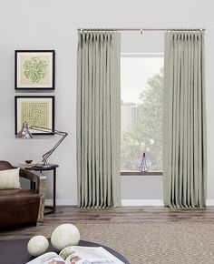 Pinch Pleat Drapery & Curtains | Modern Drapes | The Shade Store KORINTHOS ALOE