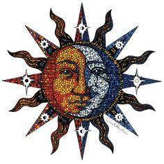 Celestial Mosaic Sun/Moon Art Print by Sandersart