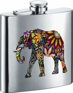 "Visol ""Flower Elephant"" Stainless Steel 6oz Hip Flask . $25.99"