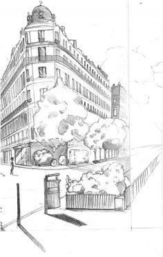 MANAA : croquis de paysages urbains - Croquis Dessin Janvier 2010