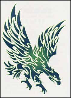 "Tribal Eagle Temporaray Tattoo by Tattoo Fun. $4.95. This 3 1/2"" X 2 1/2"" temporary tattoo is great. The design is of a tribal inspired eagle. The detail and color of the design really compliment each other well. This design would look great on the shoulder or on the shoulder blade."