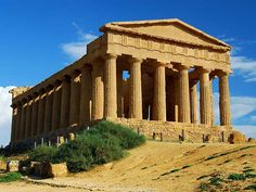 The Temple of Concordia was erected around 430 B.C. in Agrigento, Italy. It is the best-preserved among the Doric temples of the Greek world and one of the most beautiful in proportion and harmony of form.