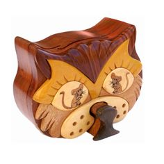 Cat & Mouse 4pc Puzzle Box; A clever hidden key is part of the design and needs to be removed to unlock. - opensky.com
