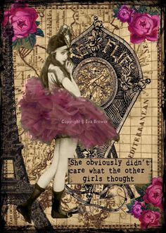 She obviously didn't care Original collage altered art steampunk collage print atc Atc Cards, Card Tags, Mixed Media Collage, Collage Art, Steampunk Cards, Collages, Art Trading Cards, Scrapbooking, Assemblage Art