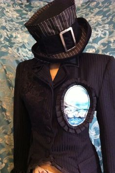 Gothic Dandy black satin pinstripe with black lace and hand painted seascape cameo tailcoat and denim buckle top hat by Retro G Couture Steampunk goth gothic Lolita dark Mori girl magician carnival circus ringmaster burlesque punk Caberet alternative avant garde handmade Ooak rock star women's fashion style