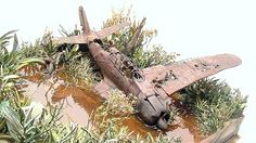 Wrecked plane in jungle 1/35 Scale Model Diorama