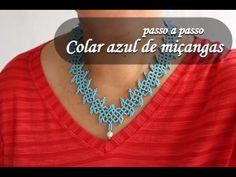 NM Bijoux - Colar azul de miçangas - passo a passo - YouTube