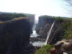 Victoria Falls. Dry season.  Livingstone, Zambia