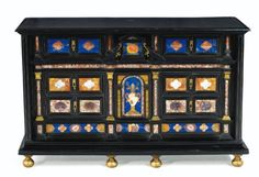 Cabinet in ebony veneer and inlaid hard stones ~ Roman work Antique Furniture, Wood Furniture, Furniture Design, Cabinet Boxes, Home Team, Mosaic Designs, 17th Century, Household Items, Cabinets
