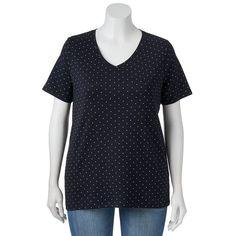 Plus Size Croft & Barrow® Print Asymmetrical-Hem Tee, Women's, Size: 4XL, Black