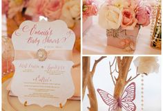 Whimsical Pink And Gold Baby Shower Pretty My Party - Pink Gold Baby Shower Centerpieces Pearl Baby Shower, Angel Baby Shower, Baby Shower Flowers, Baby Shower Centerpieces, Baby Shower Decorations, Girly Baby Shower Themes, Baby Shower Kuchen, Mini Cupcakes, Baby Shower Chair