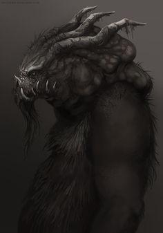 Fantasy horned creature concept art by telthona.deviantart.com