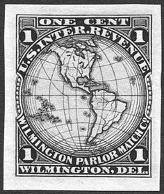 THE FIRST MAP STAMP. The first map stamp is not a postage stamp but a U.S. private-die proprietary tax stamp (RO182) issued in October 1869 by the Wilmington Parlor Match Company in Wilmington, Delaware. It is an excellent map of the western hemisphere and a number of islands in the Atlantic, Pacific and Caribbean.