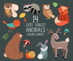 Cute Forest Animals Clip Art  Digital Woodland by KennaSatoDesigns
