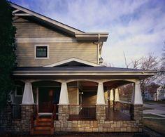craftsman/bungalow exterior, columns with stone veneer bottom