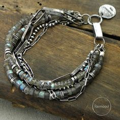 Bracelet raw sterling silver & labradorite by studioformood