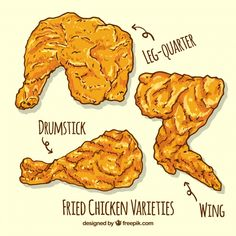 Hand-drawn fried chicken pieces Free Vector