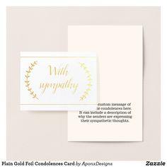 Shop Plain Gold Foil Condolences Card created by AponxDesigns. Paper Envelopes, White Envelopes, Condolences Card, Colored Paper, Gold Foil, Place Card Holders, Messages, Silver, Prints
