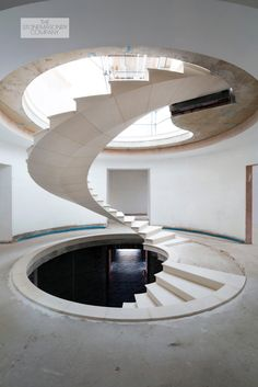 360 deg post tensioned stone spiral staircase - Stonemasonry Company