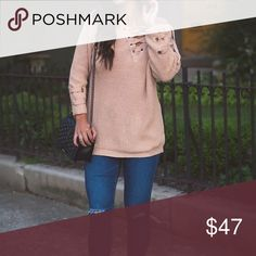 "Coming soon! Lace Up Nutmeg Sweater Stylish lace up sweater in a nutmeg color that works for all seasons.  Coming soon.  One size - can be worn as oversized sweater or a dress if you are shorter.  Bust - 41"".  Length - 30"".  Comment if you want to be notified when it's ready to ship! Boutique Sweaters"