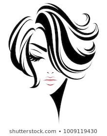 Immagini, foto stock e grafica vettoriale simili a tema illustration of women short hair style icon, logo women face on white background, vector - 512599735 Drawing Sketches, Art Drawings, Street Art Banksy, Line Art Vector, Salon Art, Face Illustration, Black And White Painting, Silhouette Art, Beauty Art