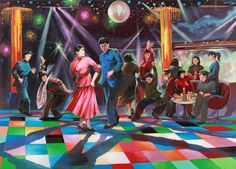 Disco Night To Enhance The Day, a North Korean propaganda artist's interpretation of an imagined discotheque in an ideal socialist Chinese society, from the Beijing-based exhibition The Beautiful Future, North Korea, 2012, artist unknown.