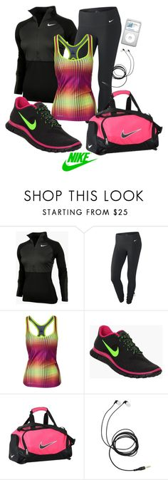 """""""~Nike~"""" by mels777 ❤ liked on Polyvore featuring NIKE, Grado, headphones, nike, workout pullover, workout, workout pants, pants, tennis shoes and workout tops"""