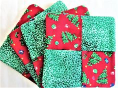 Holiday Coasters Christmas Tree Mat 4 pc Coaster Quilted | Etsy