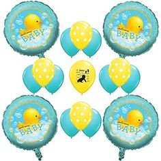 "Rubber Ducky Baby Shower Balloon Kit. Rubber Ducky Baby Shower Balloon Kit Includes:. (4) 18"" Rubber Ducky Welcome Baby Mylar Balloons. (8) 11"" Aqua Latex Balloons (4) 11"" Yellow Polka Dot Latex Balloons. (1) 11"" Baby Latex Balloons."
