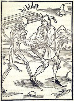 Not Preparing for Death. This woodcut is attributed to the artist Albrecht Dürer. It is an illustration from the book Stultifera navis (Ship of Fools) by Sebastian Brant, published by Johann Bergmann in Basel in 1498. Special Collections, University of Houston Libraries (Public Domain).
