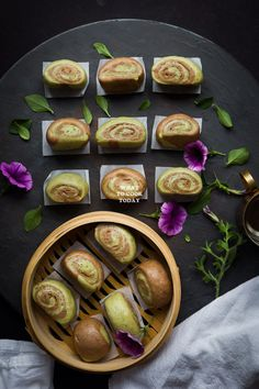 Matcha Nutella Mantou (Steamed Buns). Soft and fluffy mantou (steamed buns) infused with matcha and nutella in the dough