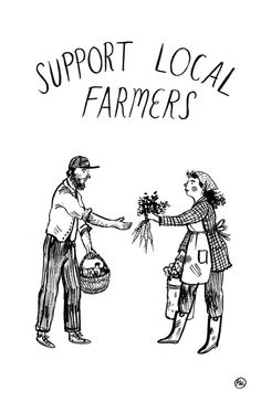 phoebewahl:  Support Local Farmers An update of my original design, created for tees over at Taproot magazine.