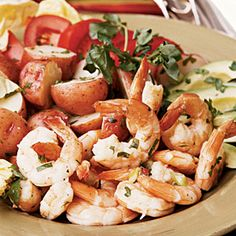 Lime Shrimp Salad Heres a secret: Toss the warm boiled potatoes in some of the dressing mixture so they soak up the zesty flavor. Shrimp Salad Recipes, Summer Salad Recipes, Healthy Salad Recipes, Summer Salads, Seafood Recipes, Healthy Summer, Healthy Foods, Ww Recipes, Summertime Salads