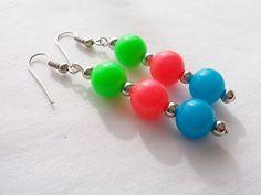 Neon retro 80's tri-colour resin dangling earrings by SparkleandComfort, $8.50