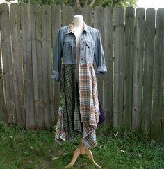 OOAK Romantic Lagenlook Eco Upcycled Reconstructed Artsy Boho flannel Denim Jean Jacket Plus Infinity Scarf L/XL