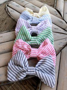 Devon Alana Design-Seersucker bow tie hair bows