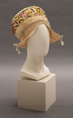 1915 Castle cap (named after dancer Irene Castle). Caps of this type can be found in fashion advertisements dating from the same era. The cap is usually referred to as a Dancing or Castle cap, and is advertised as being constructed from lightweight, transparent fabrics including lace, chiffon, and net with delicate trim and embellishment.  Via FIDM Museum.