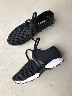 info for 59405 397a8 All Black Footwear - Break away from traditional sneakers with this  fashion-forward style - Two-piece fabric and mesh upper - Lace-up closure -  Lightly ...