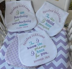 Bible Verse Burp Cloths, Set of Three, Lavender and Purple by SewYoungAtHeart on Etsy