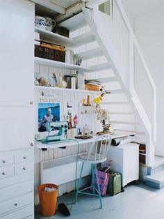 Tiny office space below the stairs #interiors