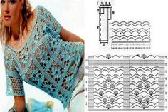 crochelinhasagulhas: Crochet on the net Crochet Vest Pattern, Crochet Diagram, Crochet Patterns, Beau Crochet, Knit Crochet, Crochet Skirts, Crochet Clothes, Blouse Au Crochet, Summer Patterns