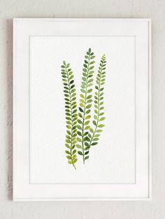 Impression Art botanique vert fougère ensemble par ColorWatercolor