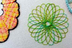 Spirograph embroidery #embroidery Wow, why haven't I thought of this before? Great idea! Make great home decor items like pillows with this technique,