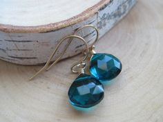 Beautiful Teal Quartz Gemstone Earrings in Gold, starting at $10.