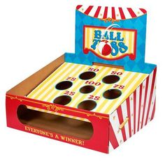 """Keep your guests entertained with this Carnival Ball Toss Game! Includes 1 cardboard toss game with 12 kick balls. The game measures 23""""""""H x 17.5""""""""W. Some assembly required.Includes (1) cardboard toss"""