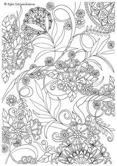 Coloring Page for Adults Mandalas Leafs Flowers by Egle Stripeikiene. Size - A3  ​Publisher: www.almalittera.lt