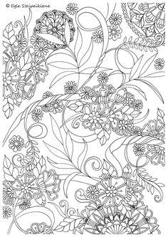 Coloring Page for Adults Mandalas Leafs Flowers by Egle Stripeikiene. Size -A3 Publisher: www.almalittera.lt
