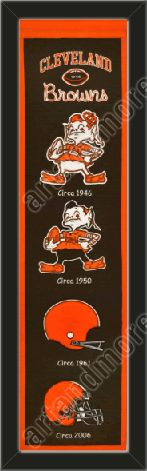 his Cleveland Browns heritage banner framed to 8 x 32 inches.  $89.99 @ ArtandMore.com